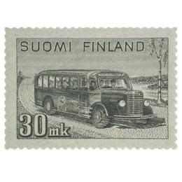 Malli 1930 Linja-auto harmaa postimerkki 30 markka