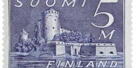 Malli 1930 Olavinlinna sininen postimerkki 5 markka