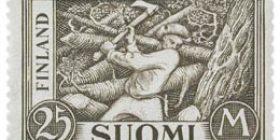 Malli 1930 Puunkaataja harmaanruskea postimerkki 25 markka