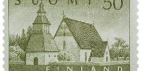 Malli 1954 Lammin kirkko oliivi postimerkki 50 markka
