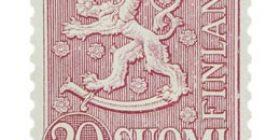 Malli 1954 Leijona lila postimerkki 20 markka