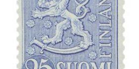 Malli 1954 Leijona sininen postimerkki 25 markka