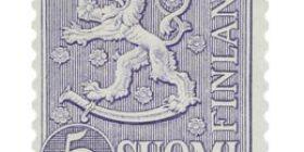 Malli 1954 Leijona violetti postimerkki 5 markka