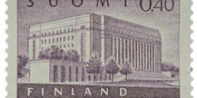 Malli 1963 Eduskuntatalo violetti postimerkki 0