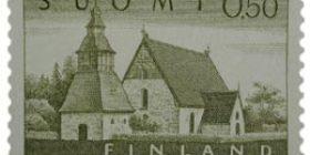 Malli 1963 Lammin kirkko oliivi postimerkki 0