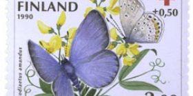 Perhosia - Hopeasinisiipi  postimerkki 2 markka