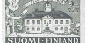 Porvoo 600 vuotta tummanharmaa postimerkki 5 markka