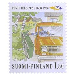 Posti- ja Telelaitos 350 vuotta - Jakeluauto  postimerkki 1