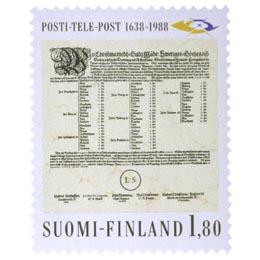 Posti- ja Telelaitos 350 vuotta - Postitaksa  postimerkki 1