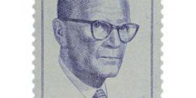 Presidentti Urho Kekkonen 60 vuotta sininen postimerkki 30 markka