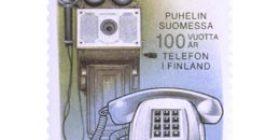 Puhelin Suomessa 100 vuotta  postimerkki 1 markka