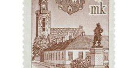 Raahe 300 vuotta punertavanruskea postimerkki 9 markka