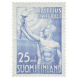 Raittius vaaleansininen postimerkki 25 markka