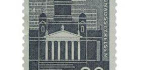 Rakennushallitus 150 vuotta harmaanmusta postimerkki 30 markka