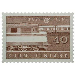 Rautatie 100 vuotta ruskeanpunainen postimerkki 40 markka