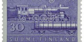 Rautatie 100 vuotta sininen postimerkki 30 markka