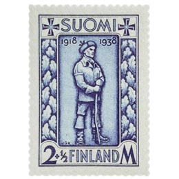 Rintamamies sininen postimerkki 2 markka