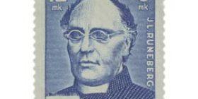 Runoilija J. L. Runeberg sininen postimerkki 12 markka