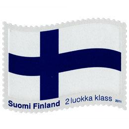Siniristilippu  postimerkki 2 luokka