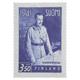 Sotamarsalkka C. G. E. Mannerheim sininen postimerkki 3