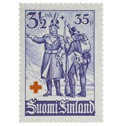 Sotilaita - Suomen sodan upseeri ja sotamies tummanultramariininsininen postimerkki 3