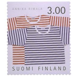 Suomalainen muotoilu - Tasaraita-paidat  postimerkki 3 markka