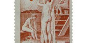 Suomalainen sauna punainen postimerkki 9 markka