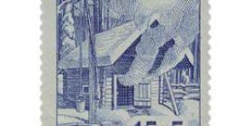 Suomalainen sauna sininen postimerkki 15 markka