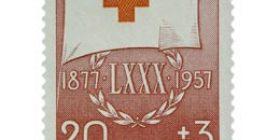 Suomen Punainen Risti 80 vuotta punainen postimerkki 20 markka