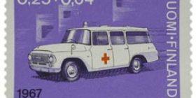 Suomen Punainen Risti 90 vuotta - Ambulanssiauto  postimerkki 0