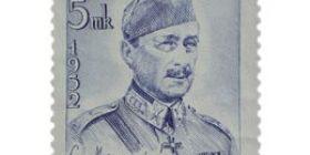 Suomen marsalkka C.G.E. Mannerheim sininen postimerkki 25 markka