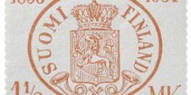 Suomen postimerkit 75 vuotta punainen postimerkki 1