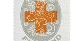 Suomen vaakuna ja punainen risti harmaa postimerkki 1 markka