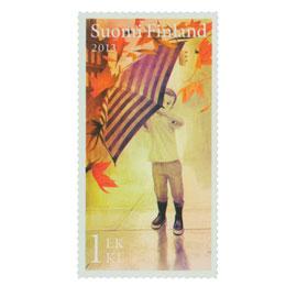 Syksyn merkit - Poika ja sateenvarjo  postimerkki 1 luokka