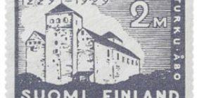 Turku 700 vuotta - Turun linna harmaansininen postimerkki 2 markka
