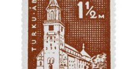 Turku 700 vuotta - Turun tuomiokirkko lila postimerkki 1
