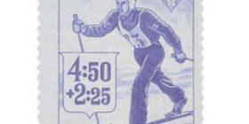 Urheilu - Hiihto sininen postimerkki 4