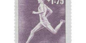 Urheilu - Juoksu tummanvioletti postimerkki 3