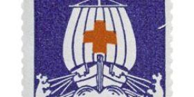 Viikinkilaiva sininen postimerkki 2 markka