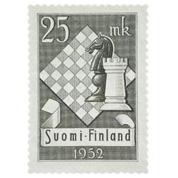 X Shakkiolympialaiset harmaa postimerkki 25 markka
