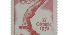 XV Olympialaiset - Uimahyppy punainen postimerkki 12 markka