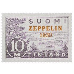 Zeppelin harmaanvioletti / punainen postimerkki 10 markka