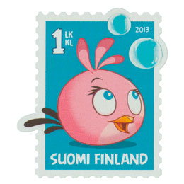 Angry Birds - Vaaleanpunainen lintu  postimerkki 1 luokka