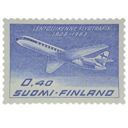 FINNAIR 40 vuotta sininen postimerkki 0