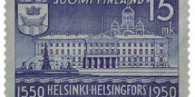 Helsinki 400 vuotta - Kaupungintalo tummansininen postimerkki 15 markka