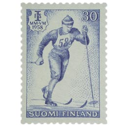 Hiihdon MM-kilpailut Lahdessa - Hiihto sininen postimerkki 30 markka