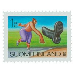 Hullut suomalaiset - Saappaanheitto  postimerkki 1 luokka