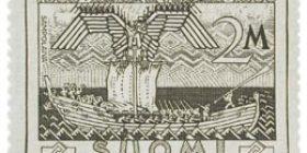 Kalevala 100 vuotta - Sammon puolustus tummanharmaa postimerkki 2 markka