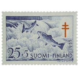 Kaloja - Lohi sininen / punainen postimerkki 25 markka