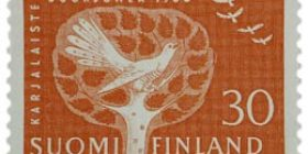 Karjalaisten suurjuhla punainen postimerkki 30 markka